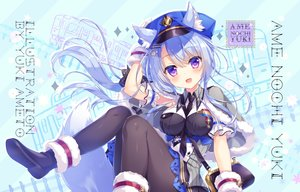 Rating: Safe Score: 47 Tags: ameto_yuki animal_ears blue_hair cape foxgirl hat long_hair original pantyhose purple_eyes uniform watermark User: 蕾咪