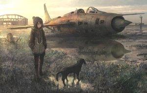 Rating: Safe Score: 125 Tags: aircraft animal black_hair brown_eyes combat_vehicle dog hat hoodie original reflection ruins short_hair tokunaga_akimasa water User: RyuZU