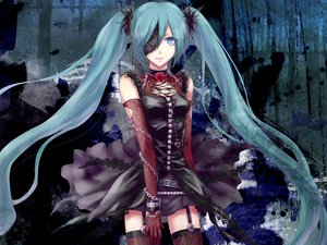 Rating: Safe Score: 115 Tags: aqua_hair blue_eyes chain dark elbow_gloves flowers gloves hatsune_miku hitoha rose skirt thighhighs twintails vocaloid User: MissBMoon