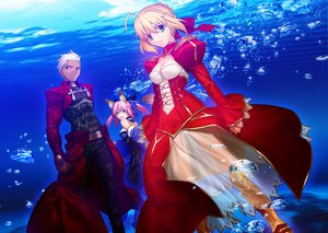 Rating: Safe Score: 135 Tags: animal_ears archer black_eyes blonde_hair dark_skin dress fang fate/extra fate_(series) fate/stay_night foxgirl green_eyes group japanese_clothes long_hair male nero_claudius_(fate) pink_hair ponytail ribbons short_hair takeuchi_takashi tamamo_no_mae_(fate) underwater water white_hair yellow_eyes User: Tensa