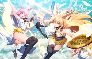 Rating: Safe Score: 71 Tags: animal aora armor ass bird black_hair blonde_hair boots breasts cleavage clouds fate/grand_order fate_(series) hildr_(fate/grand_order) hoodie long_hair ortlinde_(fate/grand_order) pink_eyes pink_hair short_hair sky spear thrud_(fate/grand_order) watermark weapon User: Nepcoheart