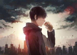 Rating: Safe Score: 115 Tags: all_male black_hair brown_eyes city clouds drink eyepatch fuurin kaneki_ken male short_hair tokyo_ghoul User: Flandre93