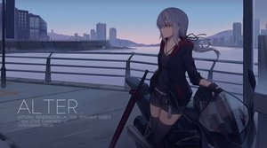 Rating: Safe Score: 86 Tags: building city fate/grand_order fate_(series) gloves gray_hair hoodie long_hair motorcycle necklace nian orange_eyes ponytail saber saber_alter scenic shorts sky sword thighhighs weapon zettai_ryouiki User: RyuZU