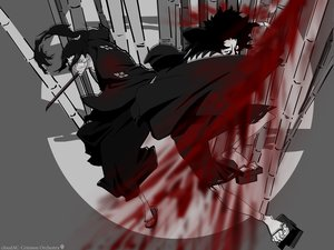 Rating: Safe Score: 9 Tags: all_male blood glasses jin male mugen polychromatic samurai_champloo User: Oyashiro-sama