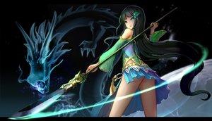 Rating: Safe Score: 154 Tags: ass black_hair dragon green_eyes hc long_hair magic skirt spear tattoo weapon User: otaku_emmy