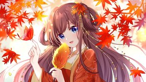 Rating: Safe Score: 34 Tags: autumn blue_eyes brown_hair butterfly chinese_clothes close gou_lianlian_dogface leaves long_hair original User: BattlequeenYume