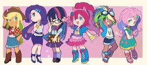 Rating: Safe Score: 23 Tags: animal_ears anthropomorphism apple_jack aqua_eyes black_hair blonde_hair blue_eyes book boots bow chibi cowgirl dark_skin dress fluttershy glasses goggles green_eyes group hat headband kneehighs long_hair miyata_(lhr) my_little_pony my_little_pony:_friendship_is_magic necklace pink_hair pinkie_pie ponytail purple_eyes purple_hair rainbow_dash rarity red_eyes red_hair school_uniform shirt shorts skirt summer_dress twilight_sparkle wristwear User: otaku_emmy