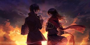 Rating: Safe Score: 37 Tags: ayan black_hair brown_eyes brown_hair clouds headphones kagerou_project kisaragi_shintaro long_hair male phone scarf school_uniform short_hair skirt skirt_lift sky sunset tateyama_ayano User: RyuZU