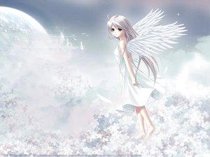 Rating: Safe Score: 12 Tags: dress long_hair red_eyes rino white white_clarity white_hair wings User: Oyashiro-sama
