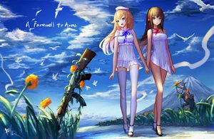 Rating: Safe Score: 188 Tags: 2girls ak-47_(girls_frontline) aliasing anthropomorphism aqua_eyes blonde_hair brown_eyes brown_hair clouds dress flowers girls_frontline gun hat hc headphones long_hair m4a1_(girls_frontline) ribbons shoujo_ai sky summer_dress thighhighs weapon zettai_ryouiki User: gnarf1975