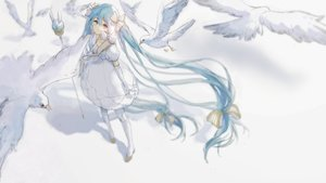 Rating: Safe Score: 31 Tags: animal bird bow dress hatsune_miku long_hair michiki_kokuyou staff twintails vocaloid white yuki_miku User: FormX