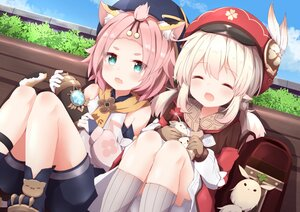 Rating: Safe Score: 50 Tags: aliasing animal_ears blonde_hair boots catgirl cat_smile clouds diona_(genshin_impact) feathers genshin_impact gloves green_eyes hat klee_(genshin_impact) kneehighs loli pink_hair pointed_ears short_hair shorts sky tail tutsucha_illust twintails User: DreamingCats