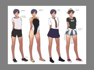 Rating: Safe Score: 18 Tags: barefoot bike_shorts blue_eyes blue_hair dark_skin hat necklace oohara_kyuutarou original seifuku short_hair shorts sketch skirt socks swimsuit tan_lines tie User: otaku_emmy
