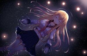 Rating: Safe Score: 120 Tags: blonde_hair long_hair mimikaki_(men_bow) navel original reflection school_uniform skirt stars water User: otaku_emmy