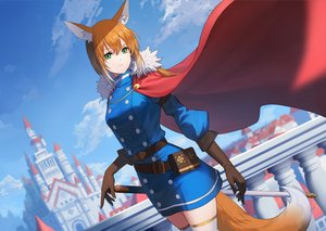 Rating: Safe Score: 57 Tags: animal_ears building cape city clouds elbow_gloves foxgirl gloves green_eyes long_hair orange_hair original short_hair sion_(9117) sky sword tail thighhighs uniform weapon zettai_ryouiki User: Dreista