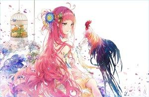 Rating: Safe Score: 99 Tags: animal bird brown_eyes cage dress flowers gloves kinokohime_(mican02rl) long_hair original petals pink_hair waifu2x User: RyuZU