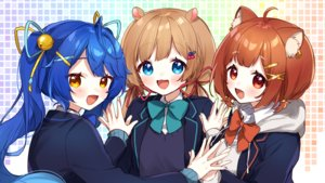 Rating: Safe Score: 23 Tags: amamiya_kokoro animal_ears aqua_eyes bell blue_hair blush bow brown_hair cat_smile eli_conifer fang hoodie long_hair nijisanji ponytail ratna_petit red_eyes school_uniform short_hair twintails yama_bukiiro yellow_eyes User: otaku_emmy