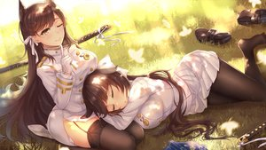 Rating: Safe Score: 77 Tags: 2girls animal_ears anthropomorphism atago_(azur_lane) azur_lane book breasts brown_hair foxgirl garter_belt gloves grass katana long_hair military pantyhose ribbons sleeping stockings sword takao_(azur_lane) thighhighs uniform weapon wink yellow_eyes yuemanhuaikong User: RyuZU