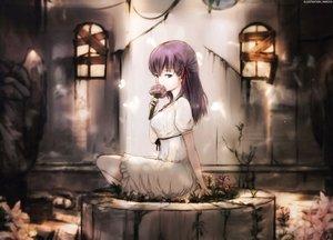 Rating: Safe Score: 92 Tags: dress dyolf fate_(series) fate/stay_night flowers long_hair matou_sakura purple_eyes purple_hair ribbons summer_dress watermark User: RyuZU
