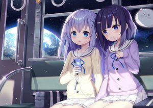 Rating: Safe Score: 51 Tags: 2girls aqua_eyes blue_eyes blush fuiba_fuyu gochuumon_wa_usagi_desu_ka? headphones kafuu_chino loli phone planet school_uniform skirt space taku_michi tippy_(gochiusa) train User: BattlequeenYume