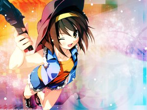 Rating: Safe Score: 107 Tags: gun hat kantoku suzumiya_haruhi suzumiya_haruhi_no_yuutsu weapon wink User: Oyashiro-sama