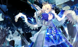 Rating: Safe Score: 41 Tags: 119 blonde_hair cape crown dress elbow_gloves fate_(series) fate/stay_night gloves green_eyes saber short_hair sword weapon User: FormX