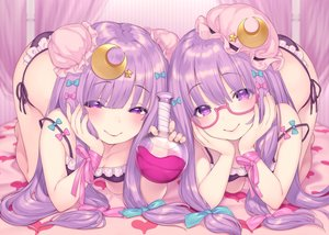 Rating: Safe Score: 40 Tags: bow drink glasses long_hair panties patchouli_knowledge pokachu purple_eyes purple_hair ribbons touhou underwear User: BattlequeenYume