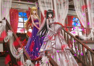 Rating: Safe Score: 109 Tags: 2girls black_hair blonde_hair bow brown_eyes dress elbow_gloves flowers gloves hakurei_reimu horns ibuki_suika infukun long_hair stairs touhou wedding_attire yellow_eyes User: Flandre93