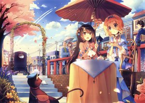 Rating: Safe Score: 41 Tags: animal bicolored_eyes blonde_hair bow brown_hair car cat clouds flowers group japanese_clothes kirero lolita_fashion long_hair male petals red_eyes scan short_hair sky stairs tree umbrella User: RyuZU