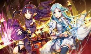 Rating: Safe Score: 139 Tags: 2girls aqua_eyes aqua_hair armor black_hair blush boots dress fire gabiran gloves headband konno_yuuki long_hair magic orange_eyes pointed_ears sword sword_art_online thighhighs weapon wristwear yuuki_asuna User: otaku_emmy