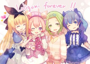 Rating: Safe Score: 44 Tags: blonde_hair blue_eyes blue_hair bow brat cat_smile choker green_eyes green_hair group hat headband hoodie loli lolita_fashion long_hair mononobe_alice morinaka_kazaki nijisanji pink_hair purple_eyes short_hair shorts ushimi_ichigo wink yuuki_chihiro User: otaku_emmy