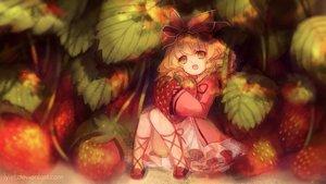 Rating: Safe Score: 98 Tags: blonde_hair bow food fruit green_eyes hina_ichigo lolita_fashion lyiet rozen_maiden strawberry watermark User: humanpinka