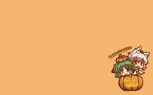 Rating: Safe Score: 47 Tags: 2girls animal_ears chibi fang gray_hair green_eyes green_hair halloween inubashiri_momiji kasodani_kyouko kuromiya pumpkin red_eyes short_hair tail touhou wolfgirl yellow_eyes User: SciFi
