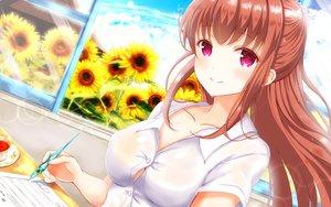 Rating: Safe Score: 64 Tags: amatsu_kanata breasts flowers girlfriend_(kari) masa_(mirage77) sunflower User: RyuZU
