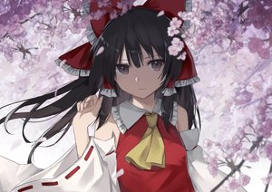 Rating: Safe Score: 95 Tags: black_hair brown_eyes cherry_blossoms flowers hakurei_reimu japanese_clothes long_hair miko petals thkani touhou User: RyuZU