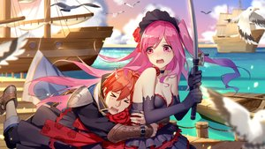 Rating: Safe Score: 43 Tags: animal bird blush boat breasts choker cleavage daye_bie_qia_lian dress elbow_gloves gloves hug male orange_hair pink_eyes pink_hair red_hair romantic_saga_of_beauty_&_devil sky tagme_(character) water User: SciFi