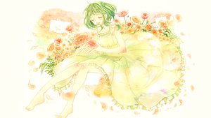 Rating: Safe Score: 21 Tags: barefoot dress flowers green_hair gumi petals ruru_(tsuitta) vocaloid User: FormX