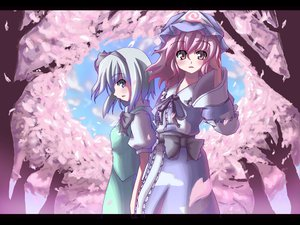 Rating: Safe Score: 19 Tags: blue_eyes blue_hair cherry_blossoms flowers konpaku_youmu pink_eyes pink_hair saigyouji_yuyuko touhou User: Oyashiro-sama