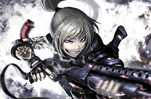 Rating: Safe Score: 324 Tags: armor blonde_hair blue_eyes gloves gun hellshock original ponytail suzumi_(hellshock) tattoo weapon User: TommyGunn