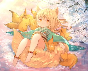 Rating: Safe Score: 42 Tags: animal animal_ears bell blonde_hair cherry_blossoms flowers fox foxgirl japanese_clothes kimono loli long_hair orange_eyes original tail umika35 User: otaku_emmy