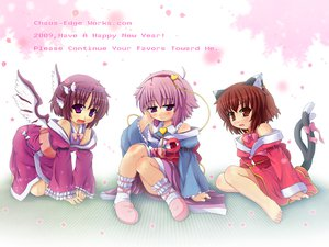 Rating: Safe Score: 16 Tags: animal_ears barefoot brown_eyes brown_hair catgirl chen dress etogami_kazuya komeiji_satori mystia_lorelei petals pink_hair purple_eyes purple_hair ribbons short_hair tail touhou wings User: konstargirl