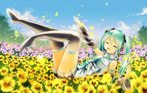 Rating: Safe Score: 19 Tags: aaru aqua_hair flowers hatsune_miku long_hair thighhighs tie twintails vocaloid User: FormX