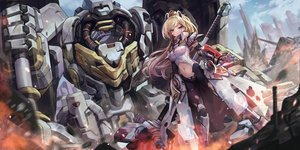 Rating: Safe Score: 95 Tags: armor blonde_hair blood clouds final_gear green_eyes horns long_hair margaret_(final_gear) mecha mechagirl navel ponytail sky tagme_(artist) weapon User: BattlequeenYume