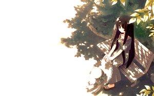 Rating: Safe Score: 57 Tags: black_hair bow dress gayarou hat leaves long_hair makino_nanami red_eyes suigetsu tree User: Crimson_Scyther