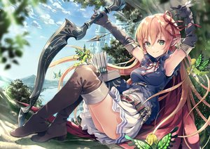 Rating: Safe Score: 132 Tags: arisa_(shadowverse) blush bow_(weapon) building clouds elbow_gloves fairy flowers garter_belt gloves green_eyes pink_hair pointed_ears shadowverse sky weapon wings yoshino_ryou User: BattlequeenYume