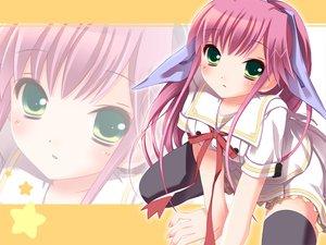 Rating: Safe Score: 23 Tags: blush futaba_hinata green_eyes hoshiful long_hair pink_hair school_uniform skirt thighhighs zettai_ryouiki User: Oyashiro-sama