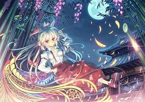Rating: Safe Score: 73 Tags: blonde_hair bow brown_eyes cigarette feathers fujiwara_no_mokou long_hair moon orita_enpitsu touhou tree User: Flandre93