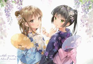 Rating: Safe Score: 121 Tags: 2girls anmi black_hair blush bow brown_eyes brown_hair candy fan flowers green_eyes japanese_clothes kimono long_hair original ponytail scan User: BattlequeenYume