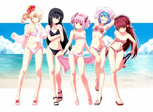 Rating: Safe Score: 345 Tags: akemi_homura aqua_hair beach bikini black_hair blonde_hair cleavage kaname_madoka mahou_shoujo_madoka_magica miki_sayaka navel pink_hair purple_eyes red_eyes sakura_kyouko swimsuit tomoe_mami tsukumo undressing water yellow_eyes User: opai