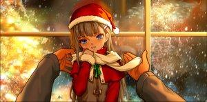 Rating: Safe Score: 88 Tags: aqua_eyes as109 blush brown_hair christmas hat loli long_hair original santa_hat scarf snow User: gnarf1975